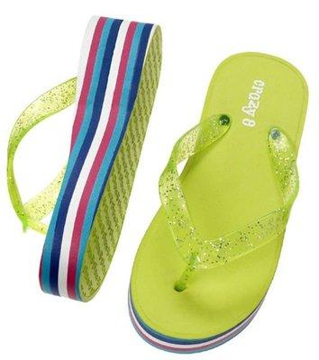 V2@☆蠍蠍傳說☆Crazy 8 Stripe Wedge Flip Flop厚底涼拖鞋(海灘鞋)(3/4,鞋底24cm