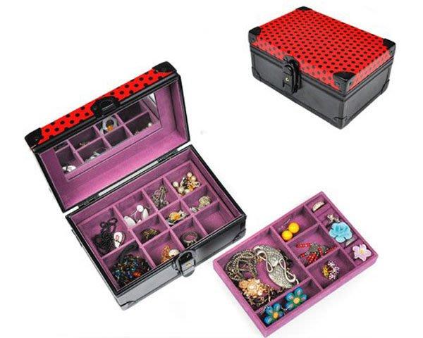 5Cgo【鴿樓】會員有優惠18694825631 雙層首飾盒 收納箱 帶鎖 鏡子 PU包 斜挎包 韓版手拿包 商務包