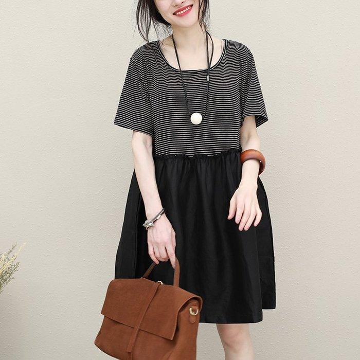 ||一品著衣|| 拼接亞麻條紋短袖套頭中長版連身裙QQ