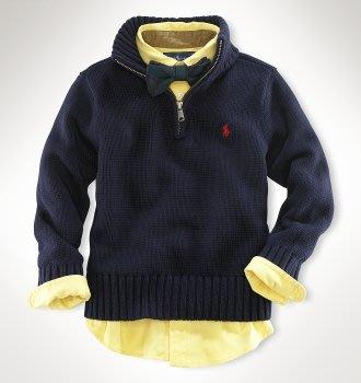 二手美國 Ralph Lauren Polo 藍色繡馬立領拉鍊針織毛衣 7T