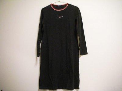 二手衣況佳 / 專櫃正品  HANG TEN  100 % COTTON 女洋裝式圓領中厚彈性長袖休閒服 [ 正黑色 ]