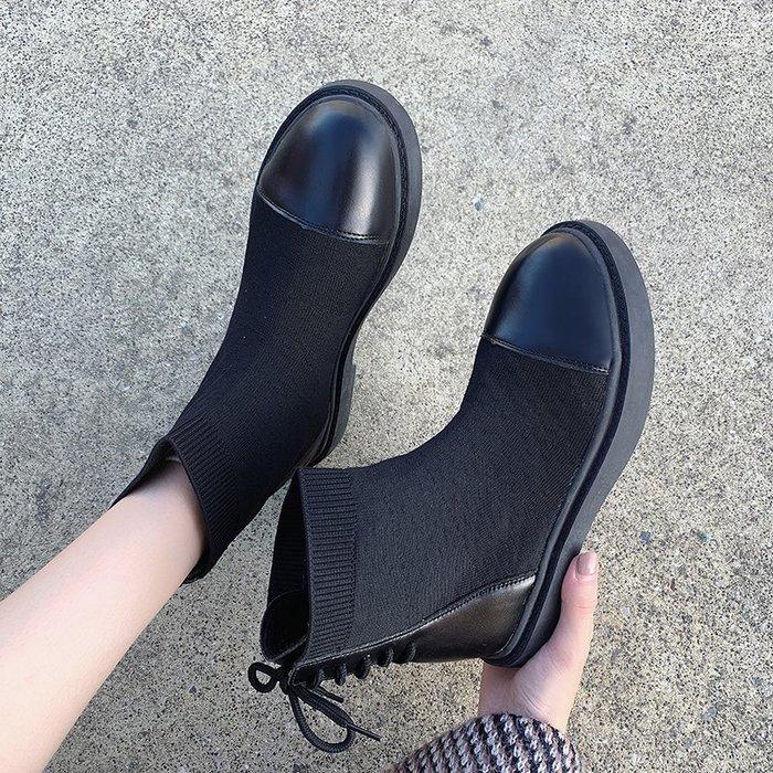 冬季保暖女靴 馬丁鞋 長靴機車靴 韓版百搭短靴女春秋百搭單靴彈力靴平跟馬丁靴女瘦瘦靴女靴子