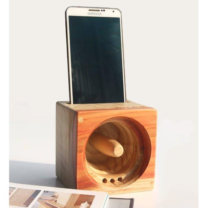 【鄉村玫瑰】 方塊吐司手機音箱-台灣杉色.手機音箱.實木喇叭