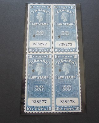 【雲品】加拿大Canada Canadian Revenue FSC21 Block of 4 FU -nice 庫號#B201 53538