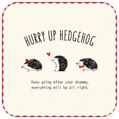 ˙TOMATO生活雜鋪˙日本進口雜貨人氣HURRY UP HEDGEHOG美式手繪風格刺蝟純棉迷你攜帶手帕2枚組(預購)