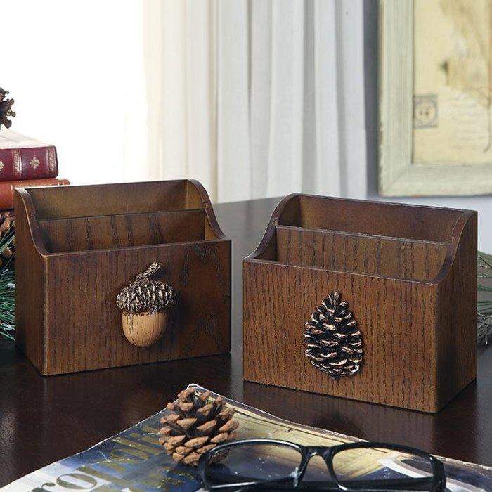 遙控器收納盒美式客廳木質茶幾小木盒辦公室桌面筆筒遙控板整理盒