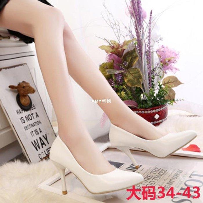 韓國藝容~春秋新款女鞋 性感夜店白色CD偽娘尖頭高跟鞋新娘鞋大碼變裝女鞋