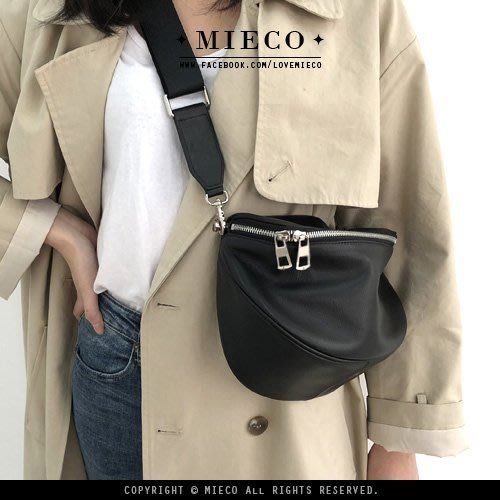 【Mieco】柔軟小牛皮 隨性街頭真皮筒狀斜背包。kellymode AW類似款
