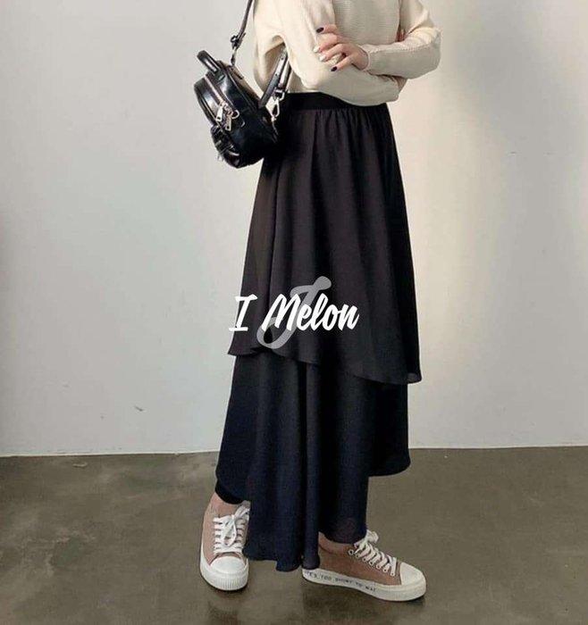 ::: i-MelOn :::100%韓國空運 正韓【現貨】春款假兩件多層次蛋糕雪紡長裙內搭褲裙※一色