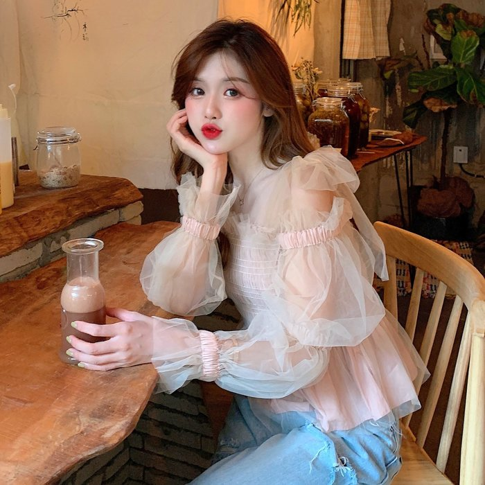 韓版 平口T恤 一字肩 超仙法式氣質網紗性感露肩修身顯瘦泡泡袖襯衫女