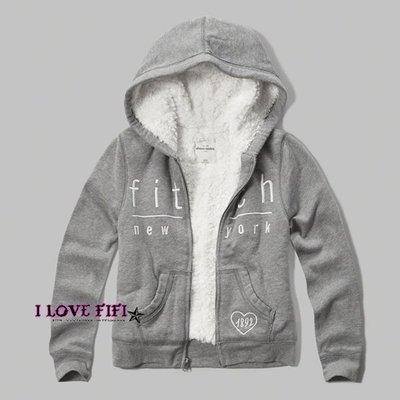 ❤美國專櫃帶回真品❤a&f童裝abercrombie&fitch kids girl hoodie羔羊毛刺繡連帽外套灰色