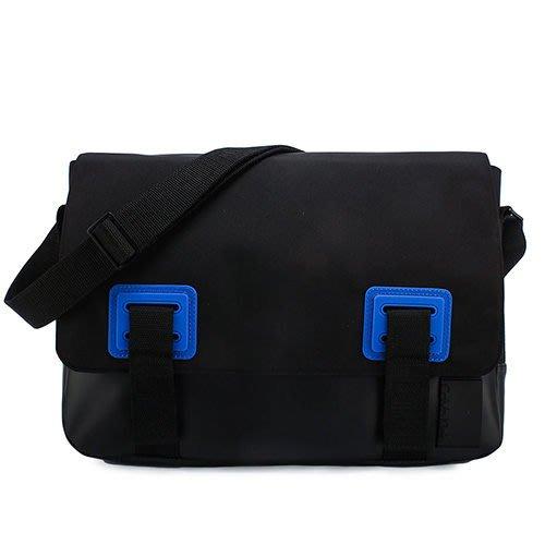 【姊只賣真貨】Calvin Klein  CK素面尼龍皮革拼接斜背包側背包(黑色)