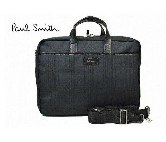 Paul Smith  ( 黑灰藍色格紋 )  帆布尼龍×真皮 手提包 後背包 肩背包 多用法貪心包 中性款|100%全新正品|特價!