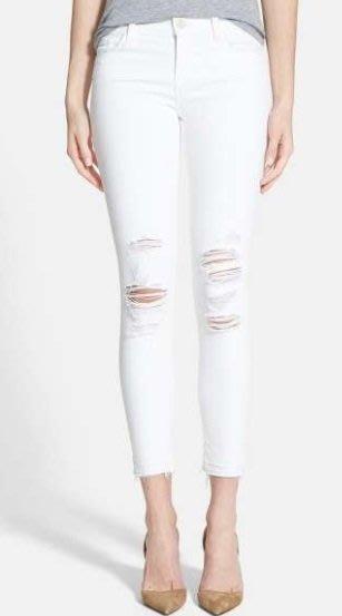 ◎美國代買◎J Brand Low rise 不包邊剪破式褲口雙膝刷破褲管頹廢風八分合身刷破白色牛仔褲