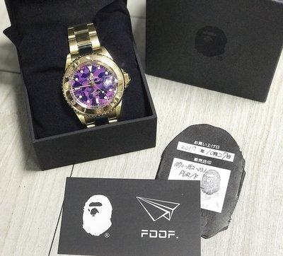 [FDOF] BAPE COLOR CAMO TYPE 1 BAPEX 紫迷彩 鏡面 金手錶 金錶 日本公司貨