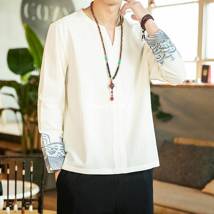 COtton男裝衣櫃中國風男裝胖子大碼長袖棉麻T恤復古風漢服刺繡唐裝亞麻上衣秋季
