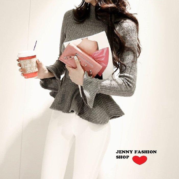 ∴?☆ 【JENNY SHOP】☆*∴ 韓國連線 正韓~合身波浪衣擺長袖針織衣-灰現貨