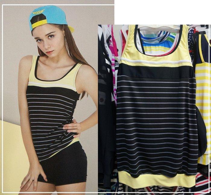 KINI*奧可那 大女泳衣 AQ17120 簡約二件式泳裝(上衣加長) 運動風黑黃 -特價1250元 M-XL