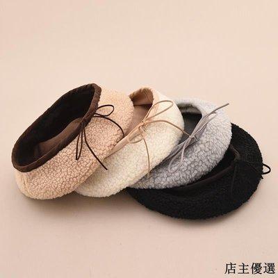 帽子女冬季時尚羊羔絨貝雷帽韓版百搭麂皮絨文藝畫家帽潮人八角帽