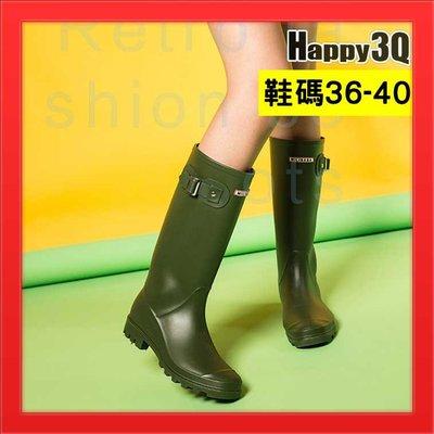 長筒女靴中筒靴子霧面雨鞋啞光靴英倫風帥氣百搭-黑/綠/粉36-40【AAA4379】