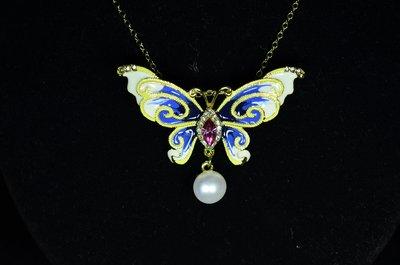 古典中國風蝴蝶天然淡水珍珠胸花-蝴蝶天然珍珠胸針項鍊吊墜-
