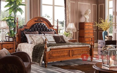 [紅蘋果傢俱] YHX303 美式 英式 仿古 法式六尺床 加大床 雙人床 美式床台 床架 實木雕刻 拼花