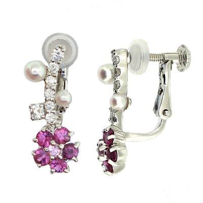 【JHT 金宏總珠寶/GIA鑽石專賣】0.20ct天然紅寶鑽石耳環/材質:18K(JB41-D05)