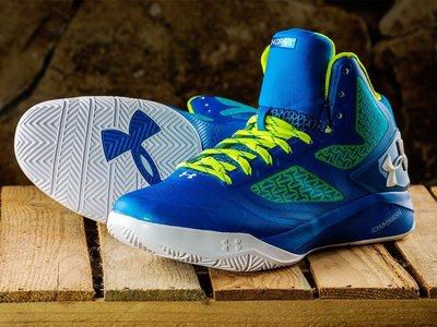 S.G UNDER ARMOUR UA 籃球鞋 ClutchFit 藍 螢光綠 Curry 室外 1258143-481