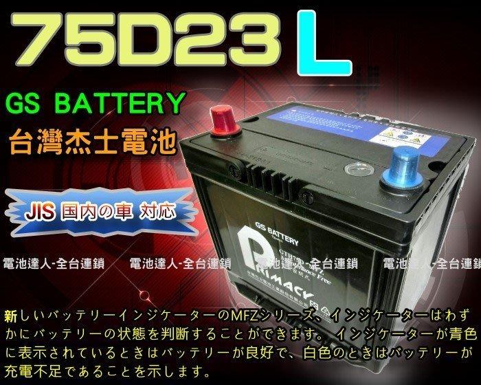 【電池達人】杰士 GS 統力 汽車電池 75D23L CAMRY INNOVA RAV4 SAVRIN IMPREZA