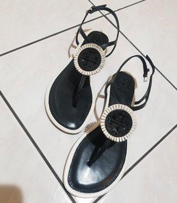 ❖客來兒美國集貨❖ Tory Burch 黑底T型面 夾腳 涼鞋 平底涼鞋 尺寸7 版型正常 只有一雙