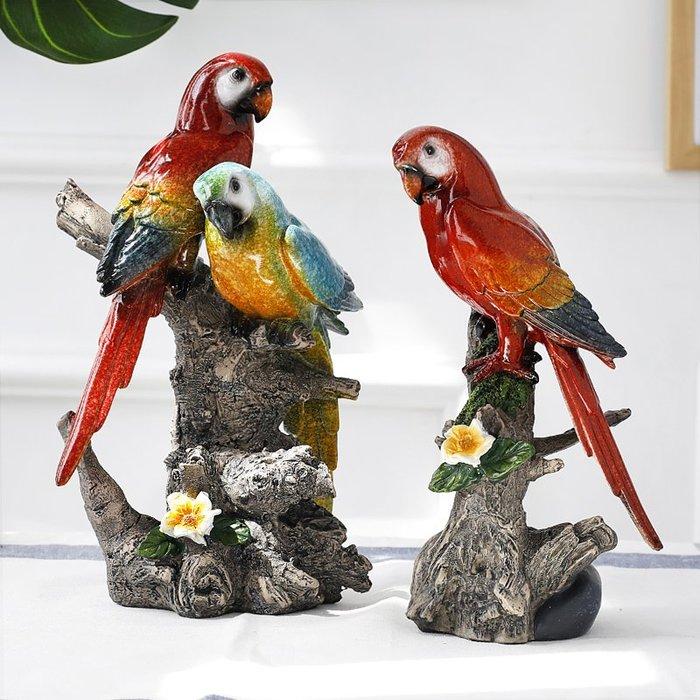 〖洋碼頭〗創意仿真小鳥擺件家居客廳酒櫃電視櫃玄關工藝裝飾品羽毛樹脂鸚鵡 ybj262