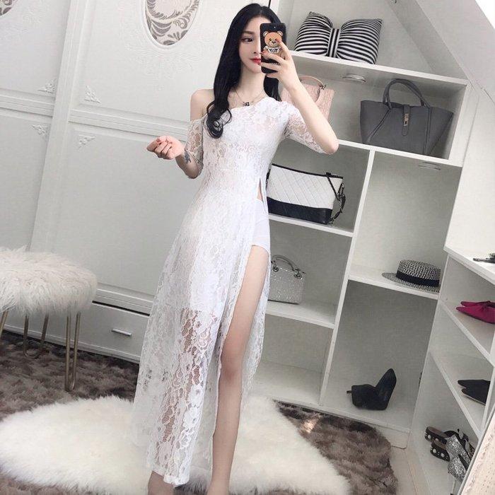連身裙 洋裝 性感套裝 包臀裙 韓版夜店性感開叉蕾絲中袖修身顯瘦長裙禮服連衣裙潮