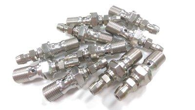 正MOTO DIY部品 白鐵螺絲 卡鉗螺絲 BREMBO輻射油管 10MM 1.  lt b  gt 0  lt b  gt 牙 附洩氣螺絲 直 一顆