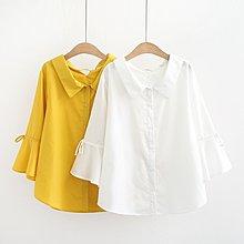 大碼女裝春季新款加大碼小清新娃娃領喇叭袖系帶時尚洋氣襯衫