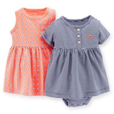【Carters】卡特 特價促銷 套裝 深藍條紋洋裝+粉橘色小花洋裝+內褲 三件組 女寶寶 -USA美國精品時尚小舖 台北市