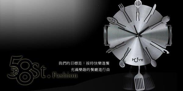 【58街】創意設計師款式「-美味交響曲- 鈦鋁合金超靜音擺鍾」3D金屬特殊鍾。AB-104