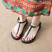 夾腳涼鞋夏季平底韓版羅馬鞋休閒時尚簡約學生平跟度假海邊沙灘鞋--晴人路