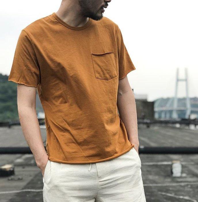 【NoComment】日系復古簡約 素面紡舊口袋短袖上衣 四色 Uniqlo H&M