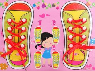 現貨 繫鞋帶拼板 學習系鞋帶 木質玩具 教具 拼圖拼板 穿線鞋 益智玩具【CH-01B-10024】
