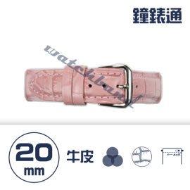 【鐘錶通】C1.07KW《繽紛系列》鱷魚壓紋-20mm 櫻花粉┝手錶錶帶/高質感/牛皮錶帶┥