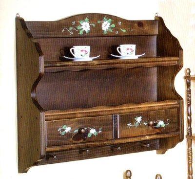 《溫馨小舖J&J Store》原木彩繪雙抽壁櫃 杯盤收納櫃 展示櫃 展示壁架 木架 收納層架