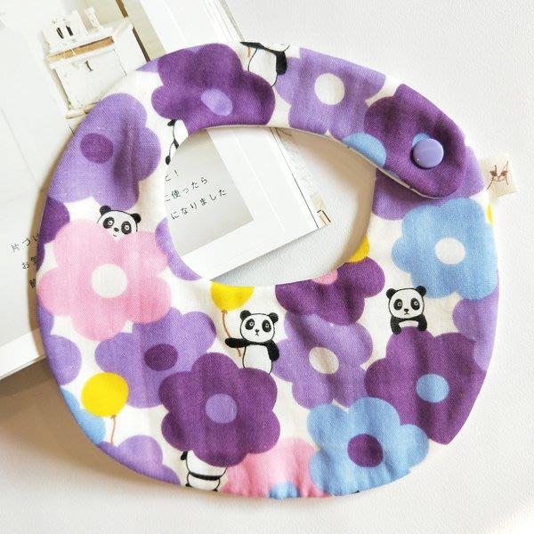 米咕手作 △ 寶寶六重紗 圍兜兜 / 口水巾 / 領巾 |熊貓愛大花花|