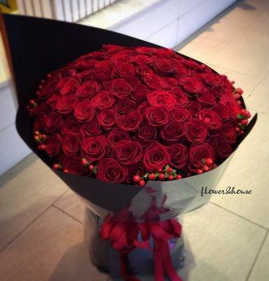 AB02。99朵情人花束。紅玫瑰花束。求婚花束。歡迎自取。【Flower&House花藝之家】