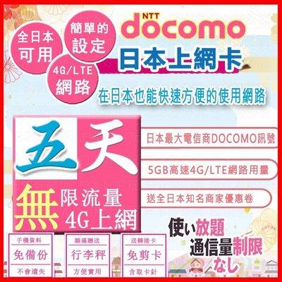*日本好好玩 超商免運費*日本5天吃到飽 5G上網卡 送行李秤 DOCOMO 4G 日本 網卡 日本上網卡 WIFI