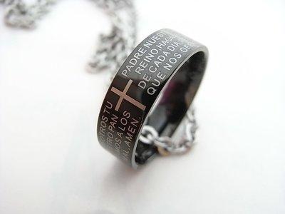 ***悅來行精品***~鋼黑色十字架戒指項鍊 羅志祥~戒指項鍊兩用(生日/情人節禮物)