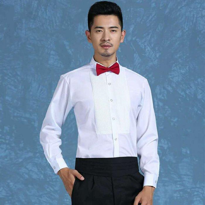 合唱襯衫2017新款白色長袖男士演出服襯衫領結衫襯衣男舞臺合唱團大合唱服 大合唱襯衫
