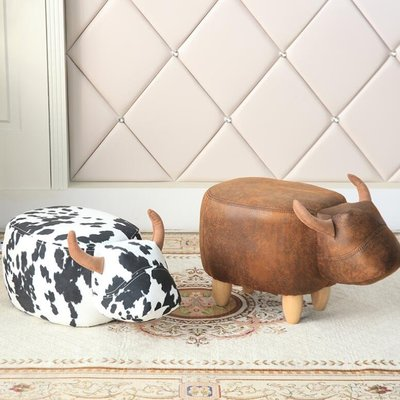 牛坐墩 凳子 設計師趣味可愛墩子 家具麂皮絨牛造型腳凳換鞋凳 —莎芭
