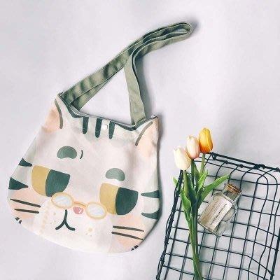 原野趣原創日繫插畫師設計可愛貓咪頭包包手提帆布包環保袋
