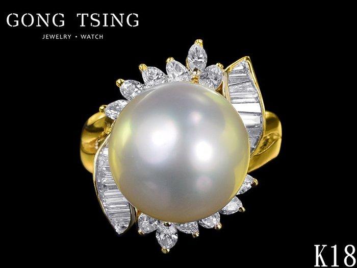 【公信精品】天然珍珠鑽戒 13.5MM 黃K金珍珠鑽石女戒指 造型戒指