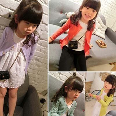 現貨--韓版 春裝女童 中小童寶寶 外套螺紋棉薄 開衫T恤糖果色 17012529